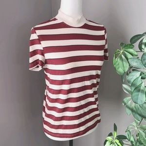 Zara basic striped mock neck short sleeve top